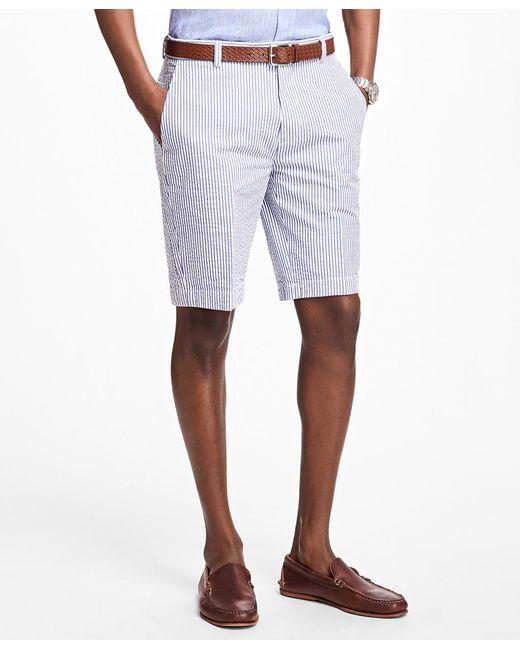 Brooks Brothers | Blue Classic Stripe Seersucker Bermuda Shorts for Men | Lyst