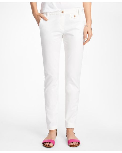 Brooks Brothers - White Stretch-cotton Twill Pants - Lyst