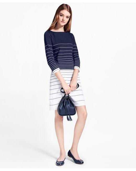 Brooks Brothers - Blue Striped Supima® Cotton Interlock Jersey Shift Dress - Lyst