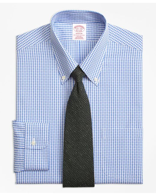 Brooks Brothers | Blue Non-iron Madison Fit Dobby Gingham Dress Shirt for Men | Lyst