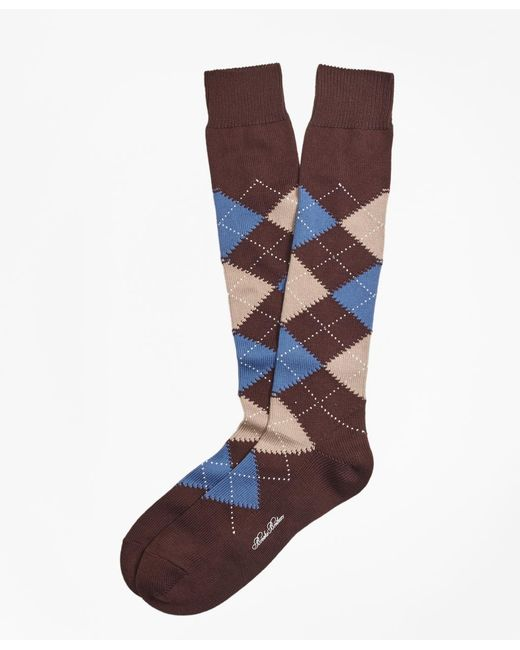 Brooks Brothers | Brown Cotton Argyle Over-the-calf Socks for Men | Lyst