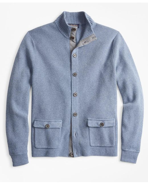 Brooks Brothers - Blue Mockneck Button-front Cardigan for Men - Lyst