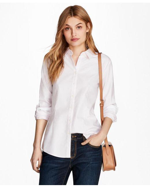 Brooks Brothers - Pink Nine-to-nine Dobby Stripe Stretch Cotton Shirt - Lyst