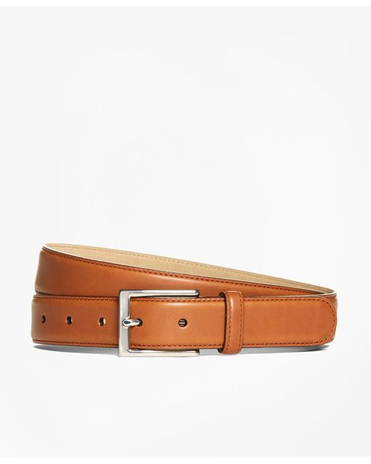 Brooks Brothers - Brown Silver Buckle Dress Belt for Men - Lyst