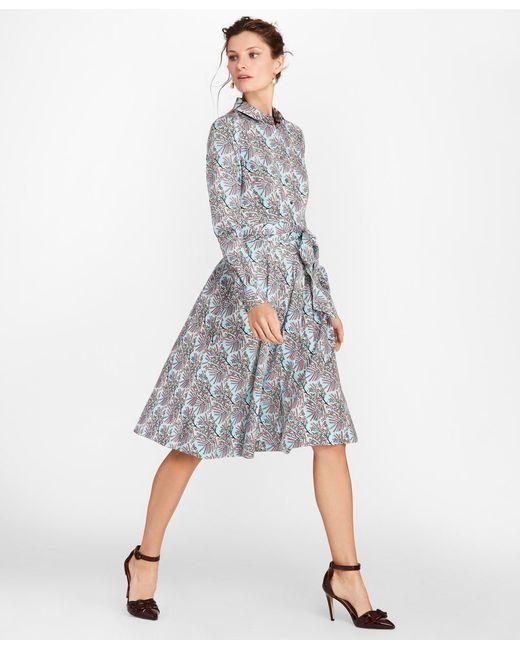 Brooks Brothers - Blue Mimosa Floral-print Cotton Sateen Shirt Dress - Lyst