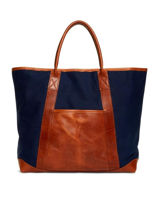 Brooks Brothers - Blue Canvas And Leather Tote - Lyst