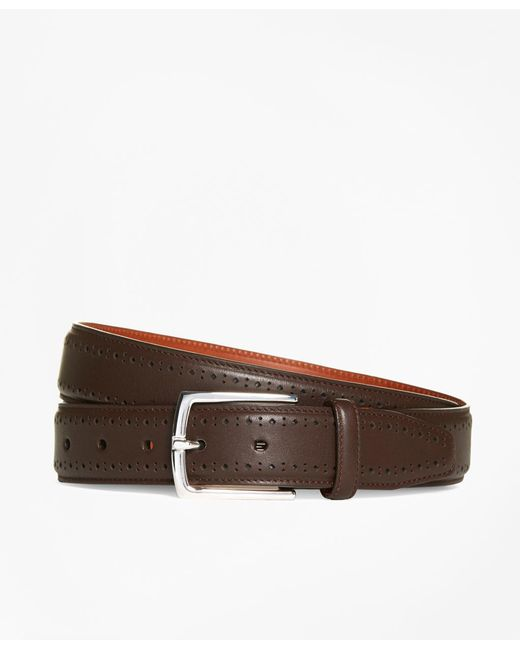Brooks Brothers - Brown Leather Perforated Belt for Men - Lyst