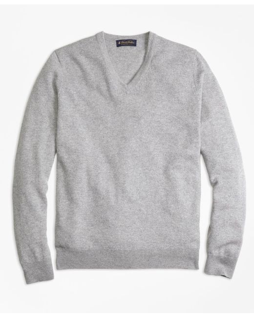 Brooks Brothers - Gray Cashmere V-neck Sweater for Men - Lyst
