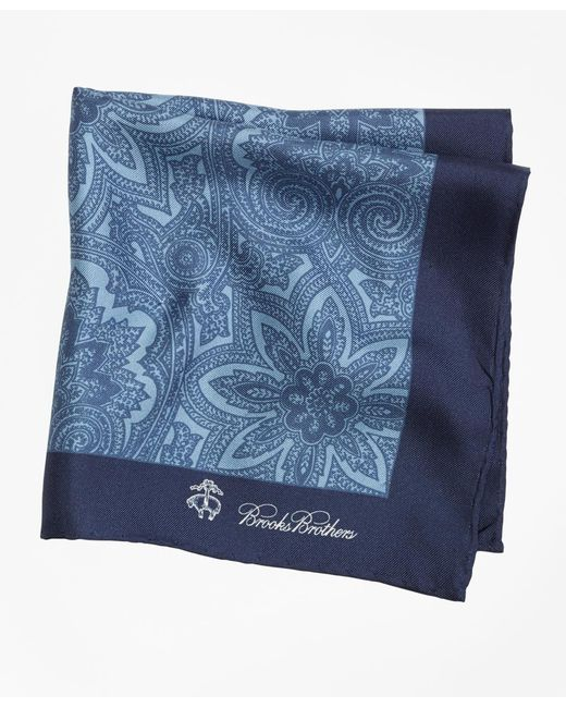 Brooks Brothers | Blue Paisley Pocket Square for Men | Lyst