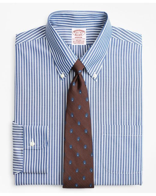 Brooks Brothers - Blue Stretch Madison Classic-fit Dress Shirt, Non-iron Ground Stripe for Men - Lyst