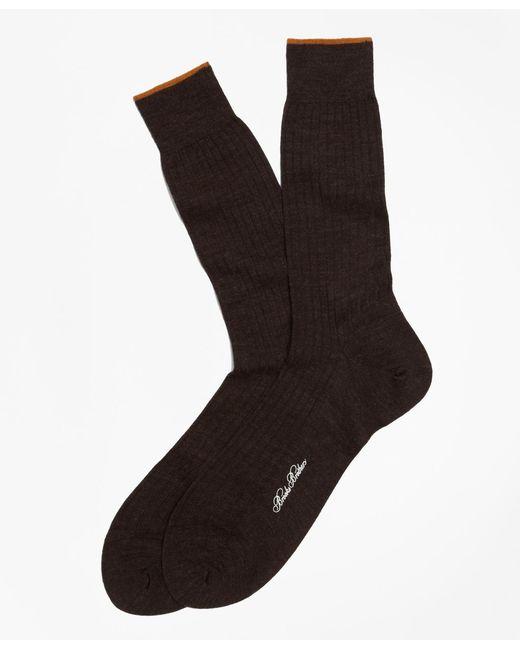 Brooks Brothers | Brown Merino Wool Golden Fleece® Sized Crew Socks for Men | Lyst