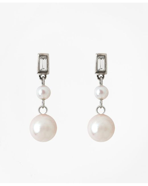Brooks Brothers | Metallic Cubic Zirconium Double Glass Pearl Drop Earrings | Lyst