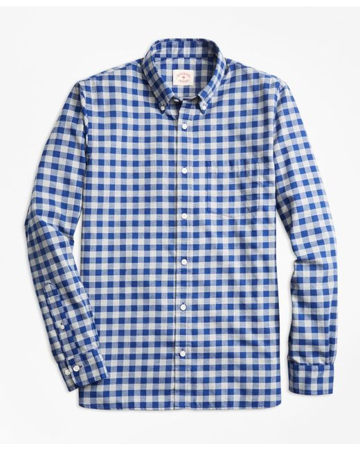 Lyst brooks brothers gingham brushed twill sport shirt for Brushed cotton twill shirt