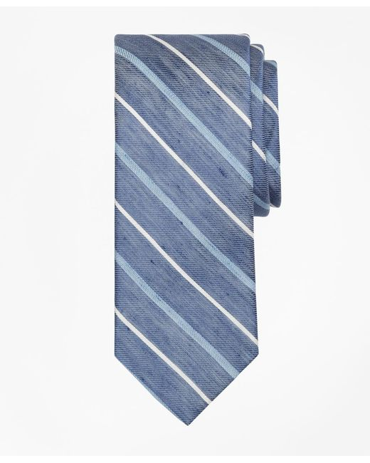 Brooks Brothers - Blue Linen Thick And Thin Stripe Tie for Men - Lyst