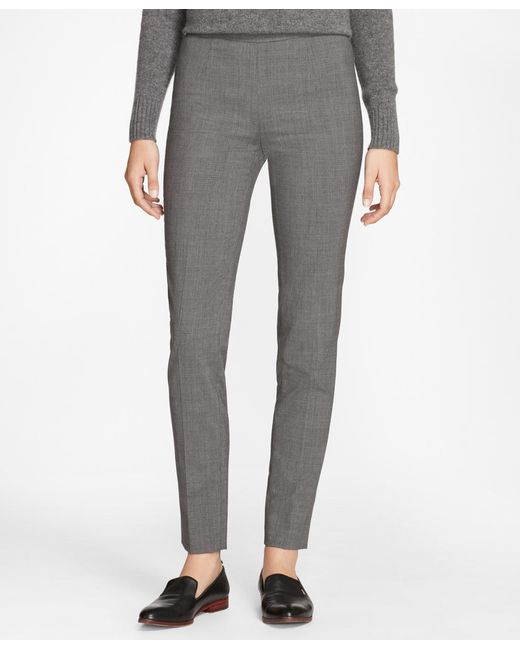 Brooks Brothers | Gray Slim-fit Micro-houndstooth Stretch-wool Pants | Lyst