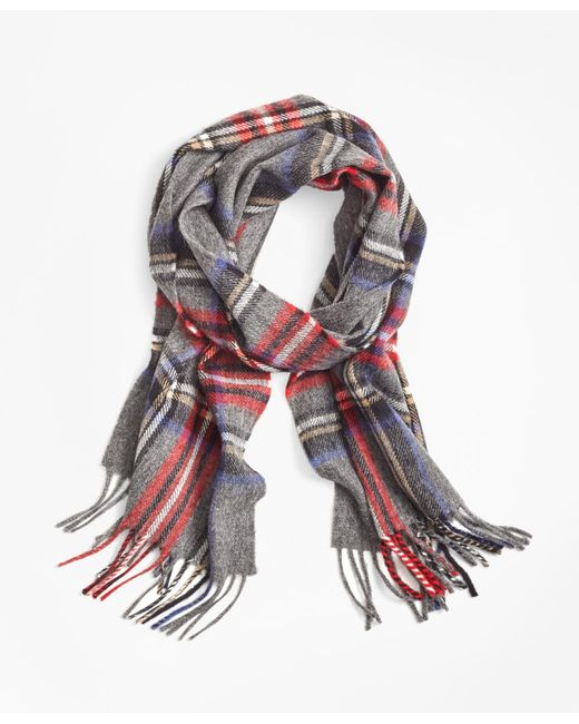 Brooks Brothers   Gray Tartan Lambswool Scarf for Men   Lyst