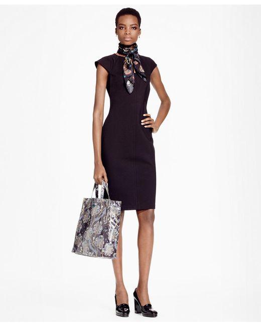 Brooks Brothers | Black Petite Ponte Knit Sheath Dress | Lyst