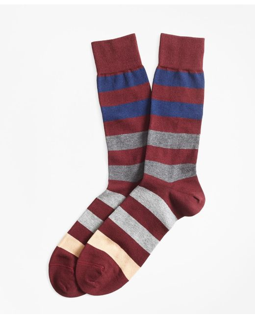 Brooks Brothers - Red Bold Striped Crew Socks for Men - Lyst