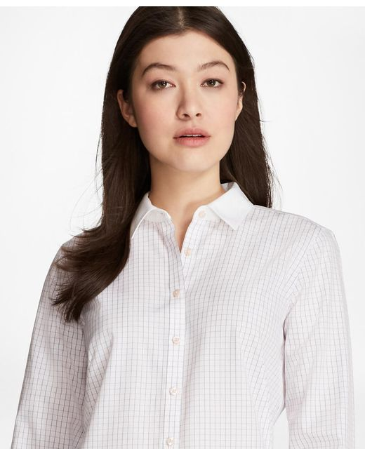Brooks Brothers | Pink Non-iron Windowpane Cotton Dobby Fitted Shirt | Lyst