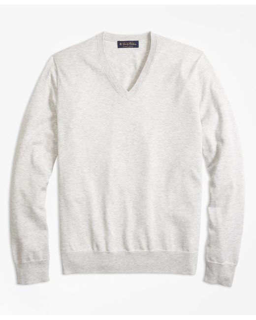 Brooks Brothers - Gray Supima® Cotton V-neck Sweater for Men - Lyst