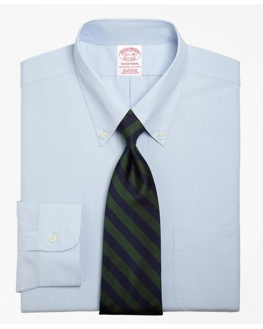Brooks Brothers   Blue Traditional Fit Button-down Collar Dress Shirt for Men   Lyst