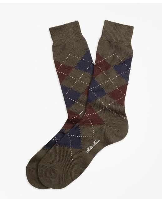 Brooks Brothers | Green Argyle Crew Socks for Men | Lyst