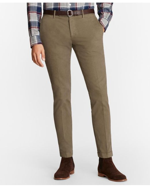 Brooks Brothers - Green Garment-dyed Stretch Broken Twill Chinos for Men - Lyst