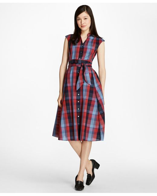 Brooks Brothers   Red Plaid Cotton Shirtdress   Lyst