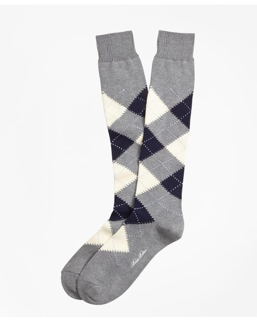 Brooks Brothers | Gray Cotton Argyle Over-the-calf Socks for Men | Lyst