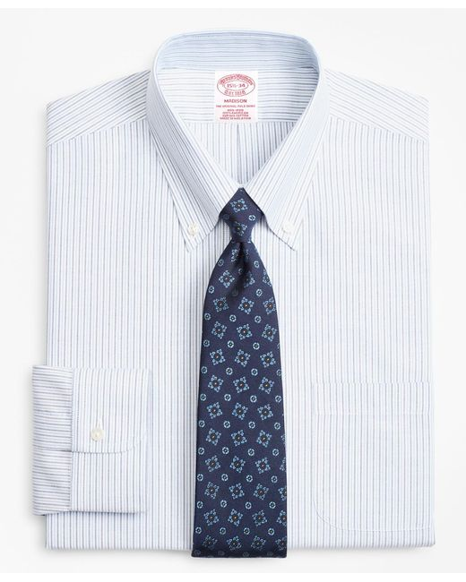 Brooks Brothers - Blue Brookscool® Madison Classic-fit Dress Shirt, Non-iron Alternating Stripe for Men - Lyst