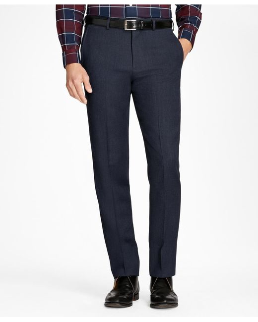 Brooks Brothers - Blue Regent Fit Whipcord Wool Trousers for Men - Lyst