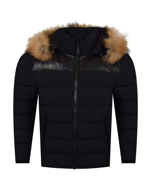 Mackage - Black Fur Hooded Puffer Jacket for Men - Lyst
