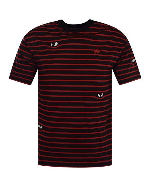 McQ Alexander McQueen - Black/red Stripe Oversized T-shirt for Men - Lyst