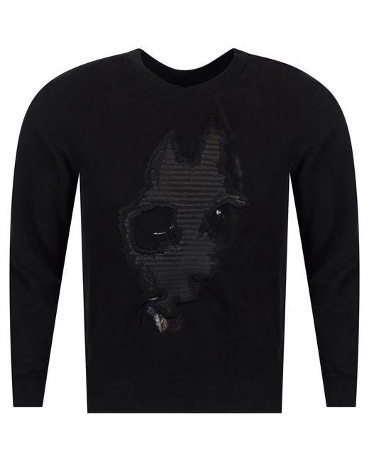 RH45 - Leather Doberman Black Crew Neck Sweatshirt for Men - Lyst