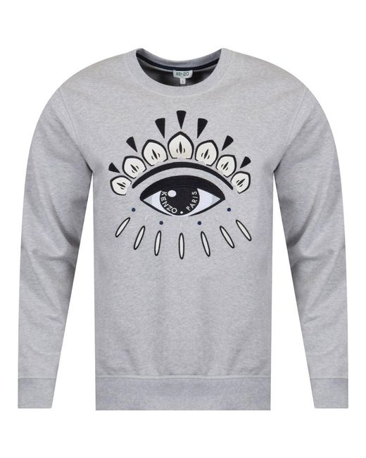 KENZO - Gray Light Grey Eye Logo Sweatshirt for Men - Lyst