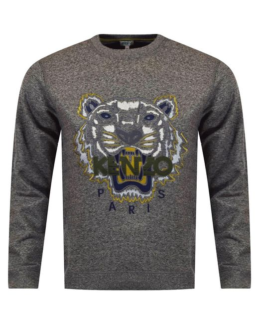 KENZO - Gray Anthracite Grey Tiger Logo Sweatshirt for Men - Lyst