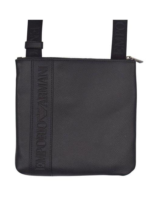 1b793241cf2 Lyst - Emporio Armani Black Leather Logo Shoulder Bag in Black for Men
