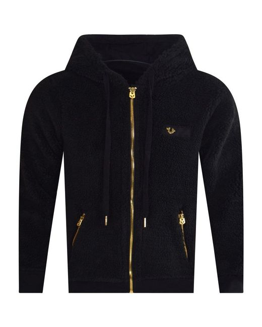 476e3fcb6 True Religion Black Fleece Hooded Jacket in Black for Men - Lyst