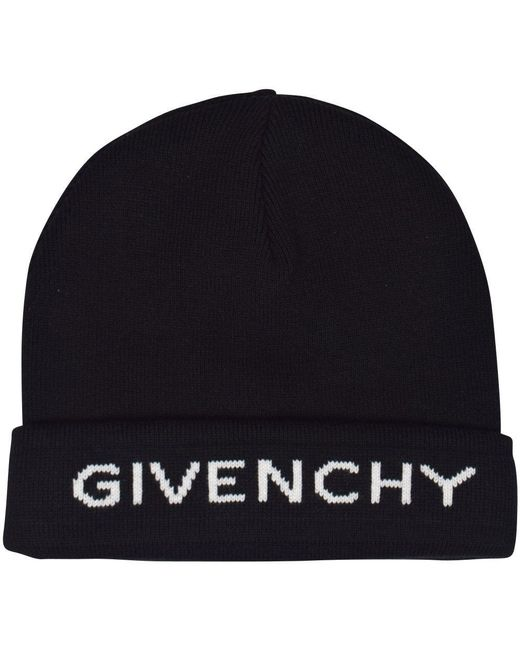 Givenchy - Black Text Logo Beanie for Men - Lyst