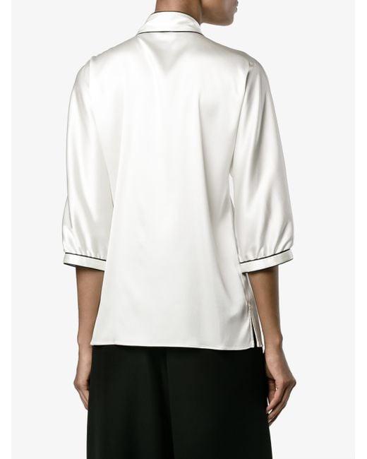 Dolce gabbana three quarter length sleeve silk shirt in for Three quarter length shirt
