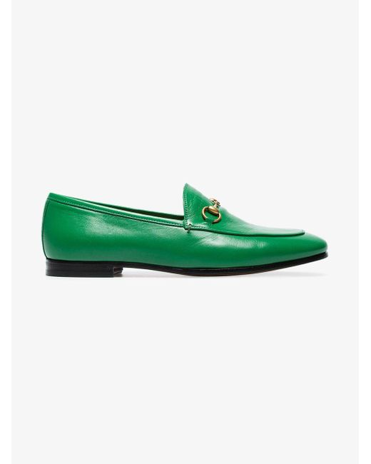 30a92d4453a Lyst - Gucci Green Jordaan Leather Loafers in Green