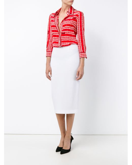 roland mouret arreton wool pencil skirt in black white