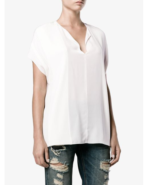 Vince Silk Blouse With Split Neck In White Off White Lyst