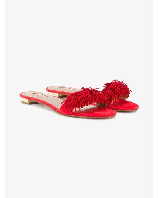 Aquazzura - Red Suede Wild Thing Slide Flats - Lyst