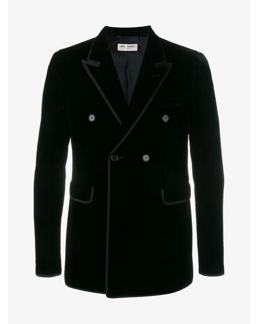 Saint Laurent | Black Studded Velvet Bomber Jacket for Men | Lyst