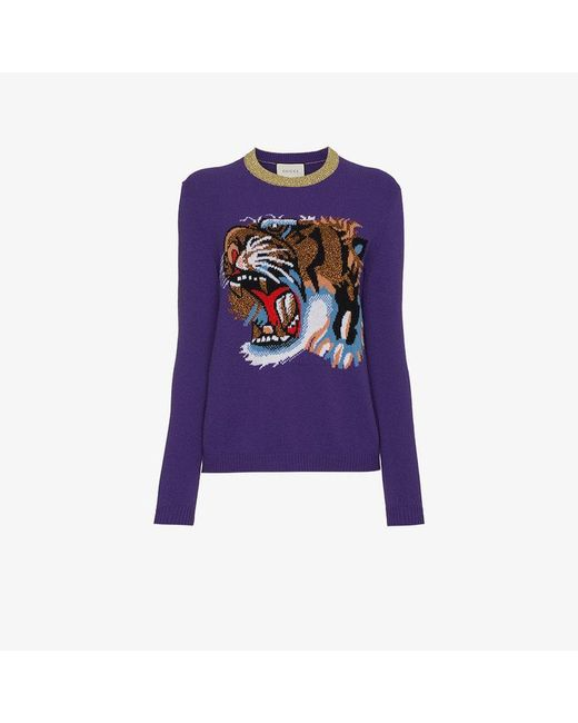 Gucci - Purple Wool Jumper With Knitted Tiger Motif - Lyst