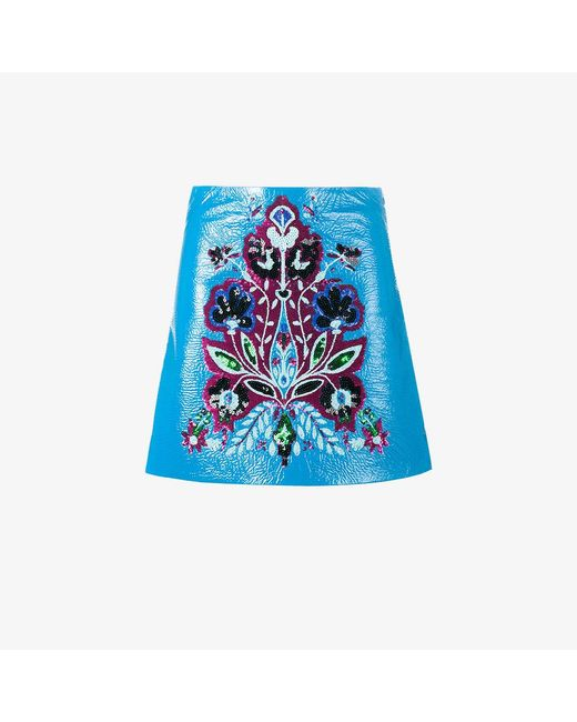 Miu Miu | Blue Floral Embroidered Mini Skirt | Lyst