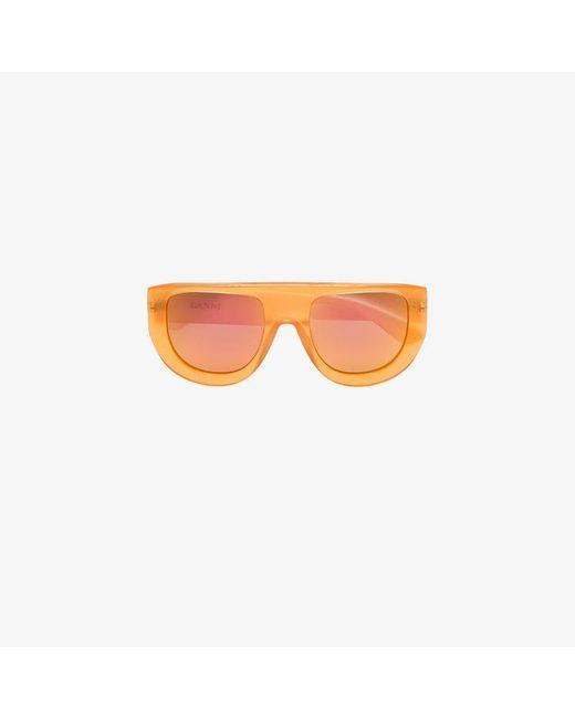 Ganni - White And Orange Ines Sunglasses - Lyst