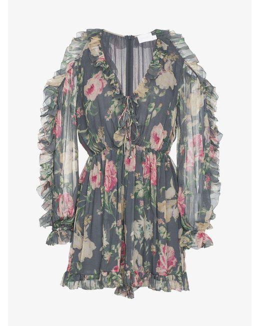 24c93db5127 ... Zimmermann - Gray Iris Floral Print Silk Tie Playsuit - Lyst ...