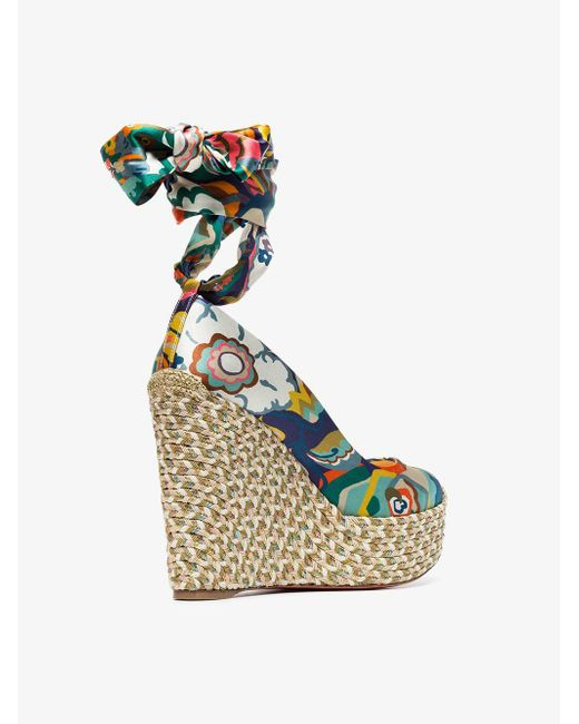 2d8666bc5c90 ... Christian Louboutin - Multicolor Multicoloured Barbaria Zeppa 120  Floral Satin Wedge Sandals - Lyst